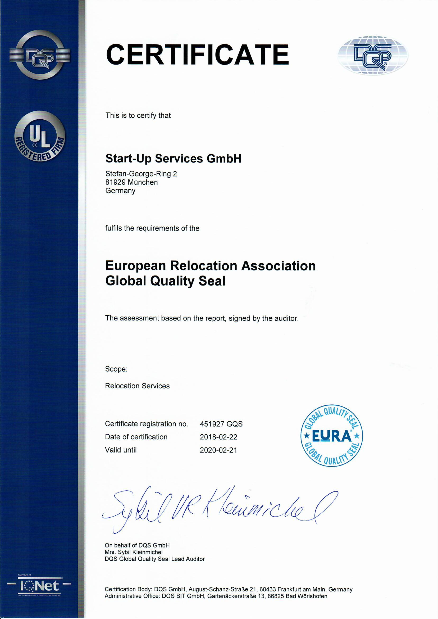EURA Global Quality Seal Start-Up Services